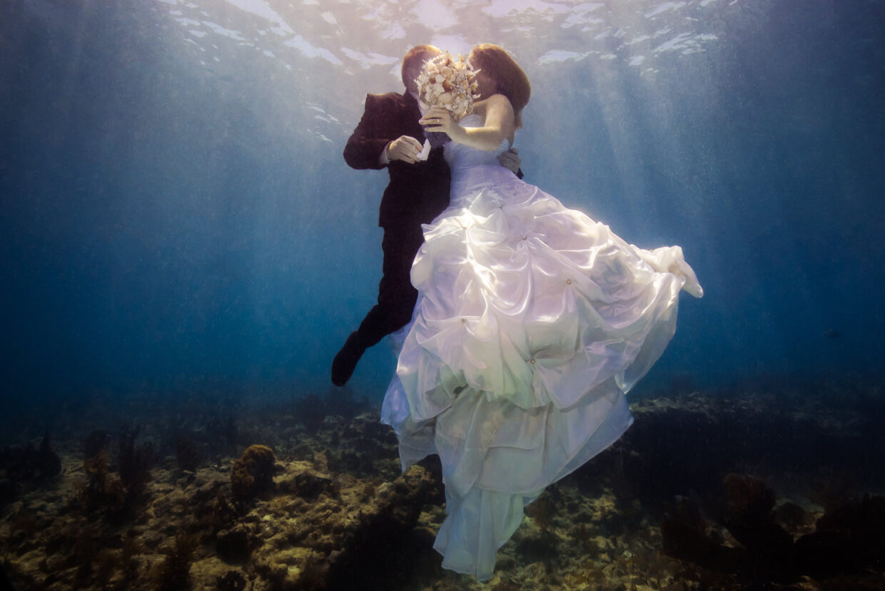 Trashing the dress underwater