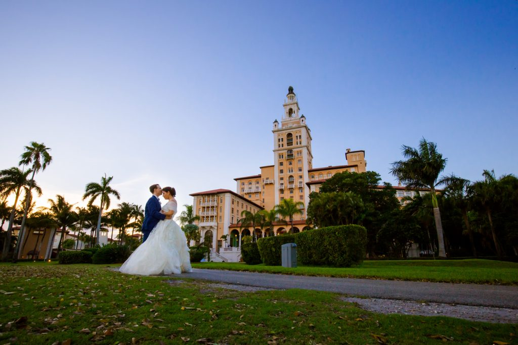 Couple in front of the Miami Biltmore Hotel