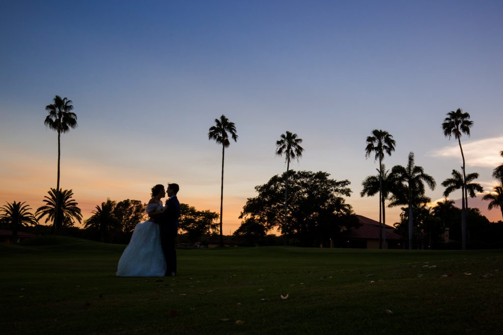 sunset at Miami Biltmore Hotel. Wedding