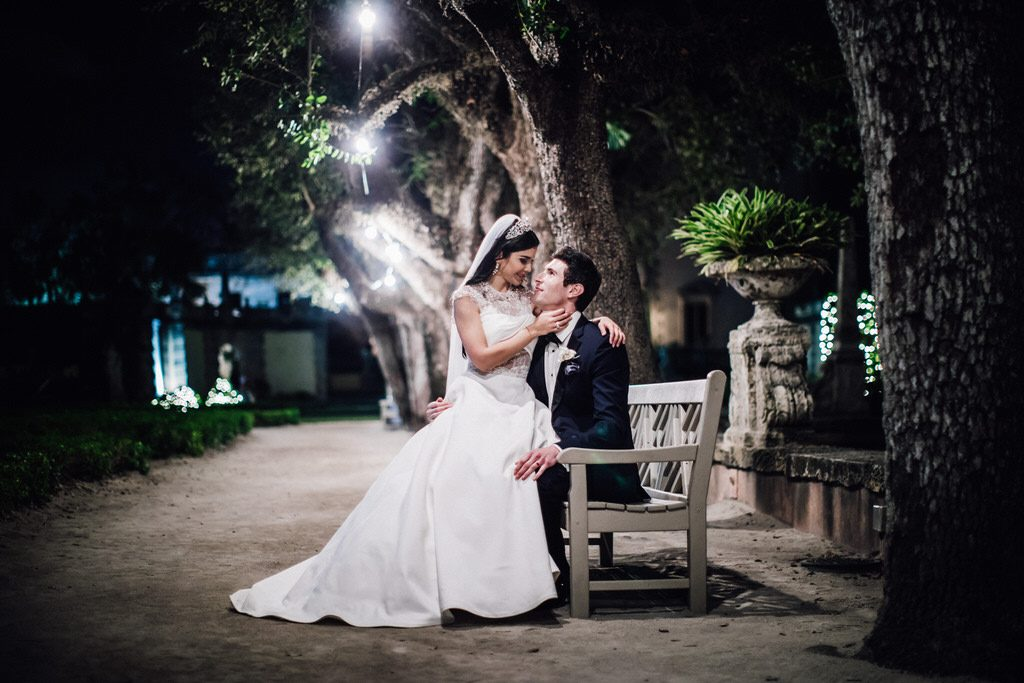 Beautiful couple at Vizcaya Museum and Gardens