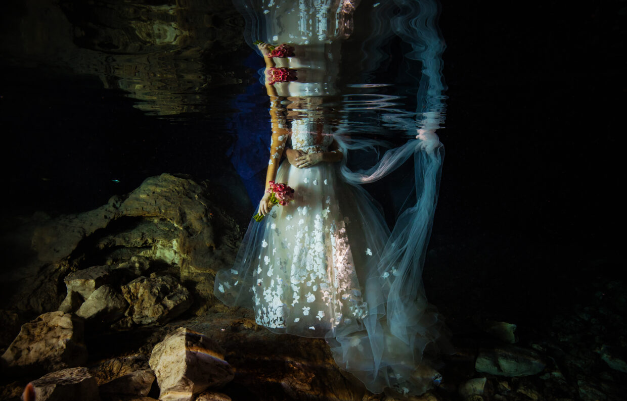 Trashing the dress. Underwater photography, trashing the dress, Tulum Mexico